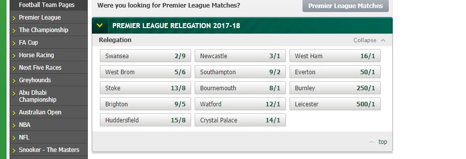 Paddy Power Relegation Betting