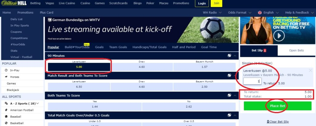 how to place a bet on football