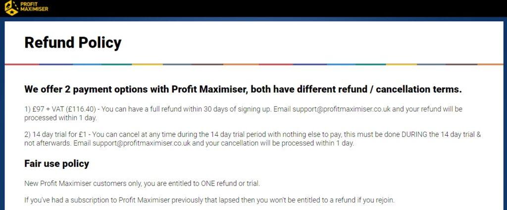 How do I cancel Profit Maximiser?