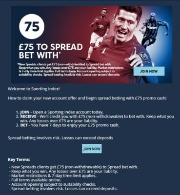 Spread Betting Sporting Index New Customers Offer