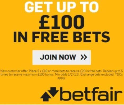 Betfair £100 Free Bet